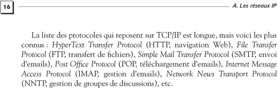Mail Transfer Protocol (SMTP, envoi d emails), Post Office Protocol (POP, téléchargement d emails), Internet