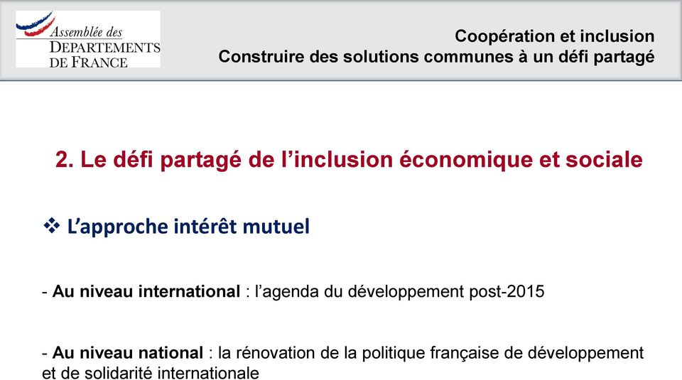 développement post-2015 - Au niveau national : la rénovation de