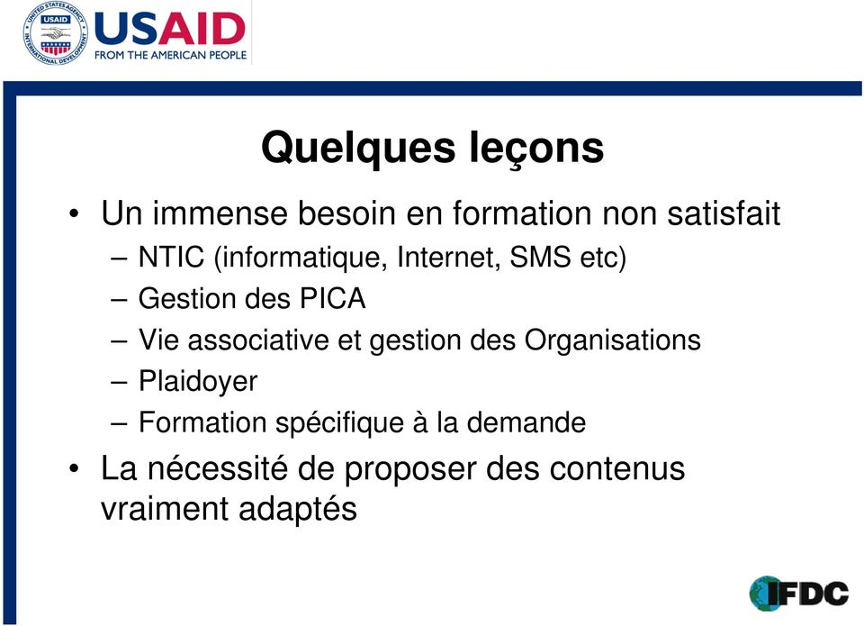 associative et gestion des Organisations Plaidoyer Formation