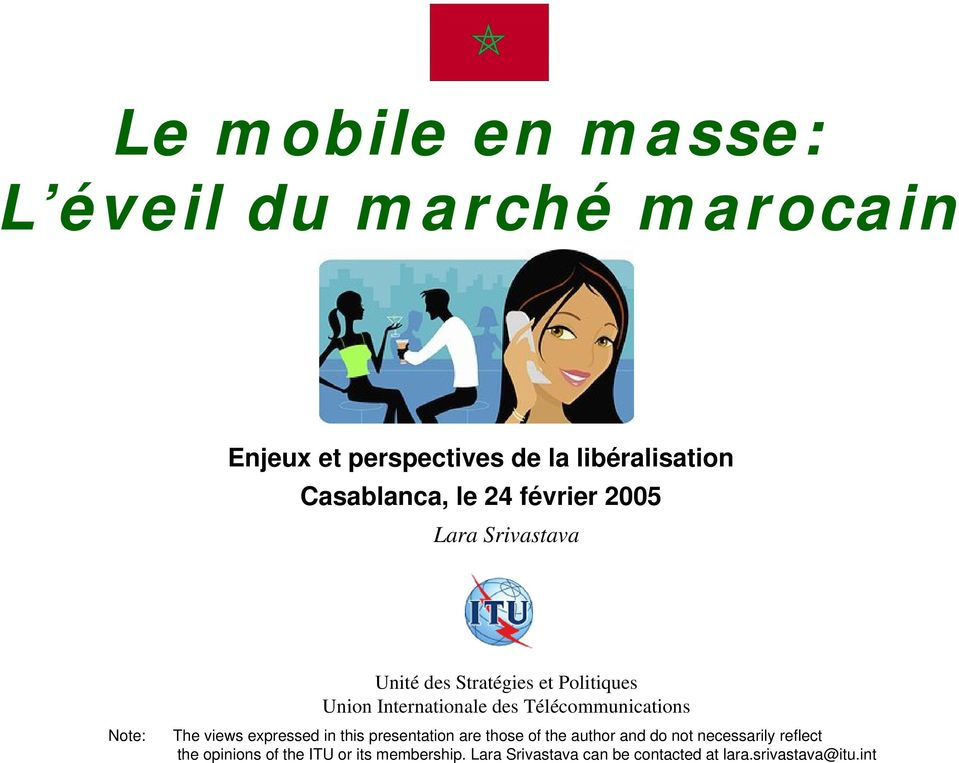 Télécommunications The views expressed in this presentation are those of the author and do not