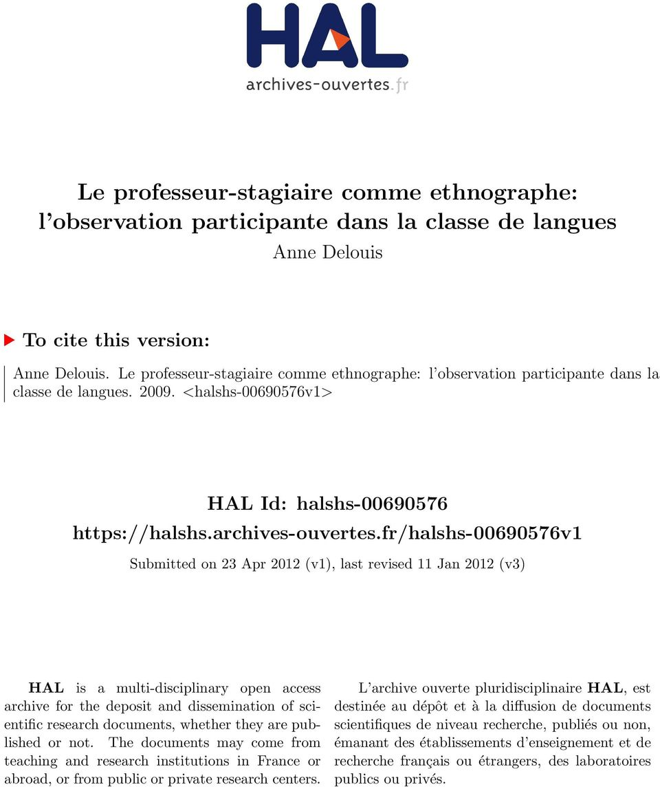 fr/halshs-00690576v1 Submitted on 23 Apr 2012 (v1), last revised 11 Jan 2012 (v3) HAL is a multi-disciplinary open access archive for the deposit and dissemination of scientific research documents,