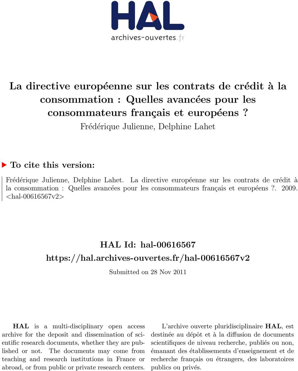 fr/hal-00616567v2 Submitted on 28 Nov 2011 HAL is a multi-disciplinary open access archive for the deposit and dissemination of scientific research documents, whether they are published or not.
