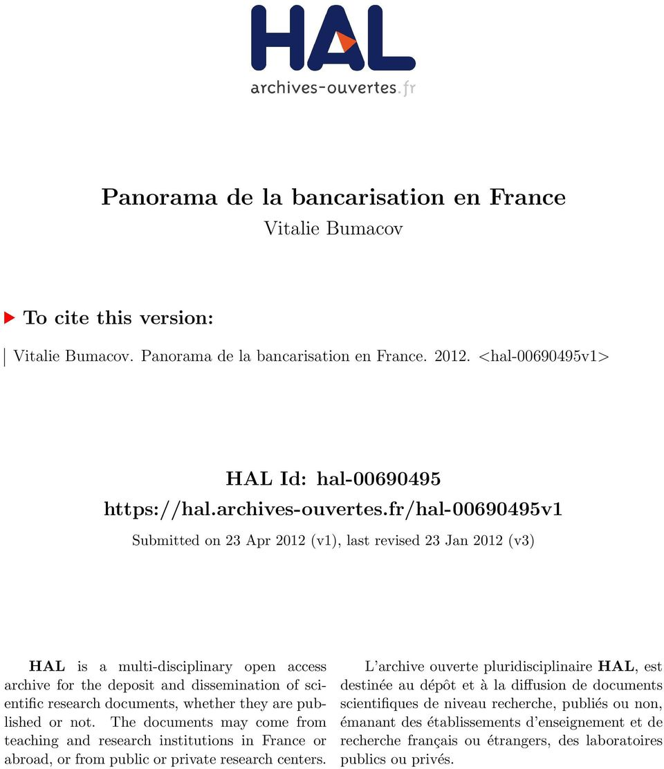 fr/hal-00690495v1 Submitted on 23 Apr 2012 (v1), last revised 23 Jan 2012 (v3) HAL is a multi-disciplinary open access archive for the deposit and dissemination of scientific research documents,
