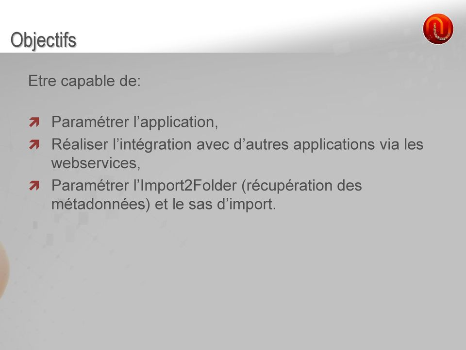 applications via les webservices, Paramétrer l