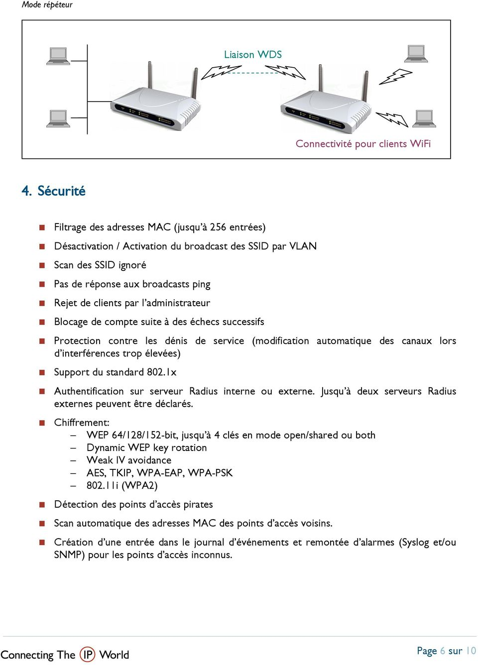 Désactivation / Activation du broadcast des SSID par VLAN Protection contre les dénis de service (modification automatique des canaux lors d interférences trop élevées) Sup port du standard 802.