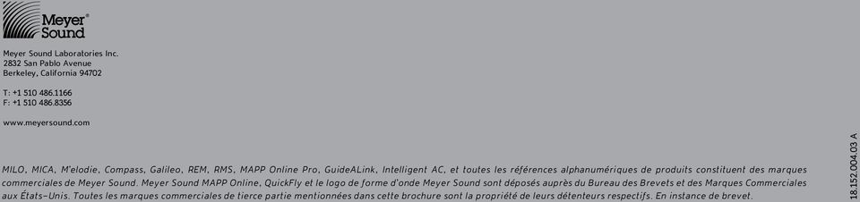 des marques commerciales de Meyer Sound.