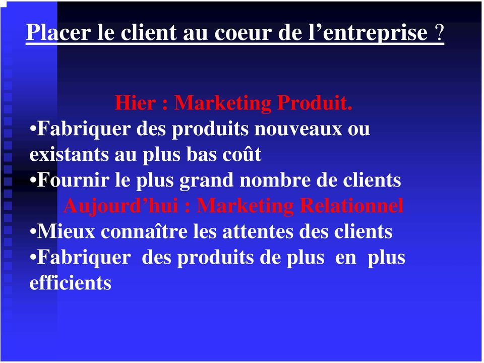 plus grand nombre de clients Aujourd hui : Marketing Relationnel Mieux