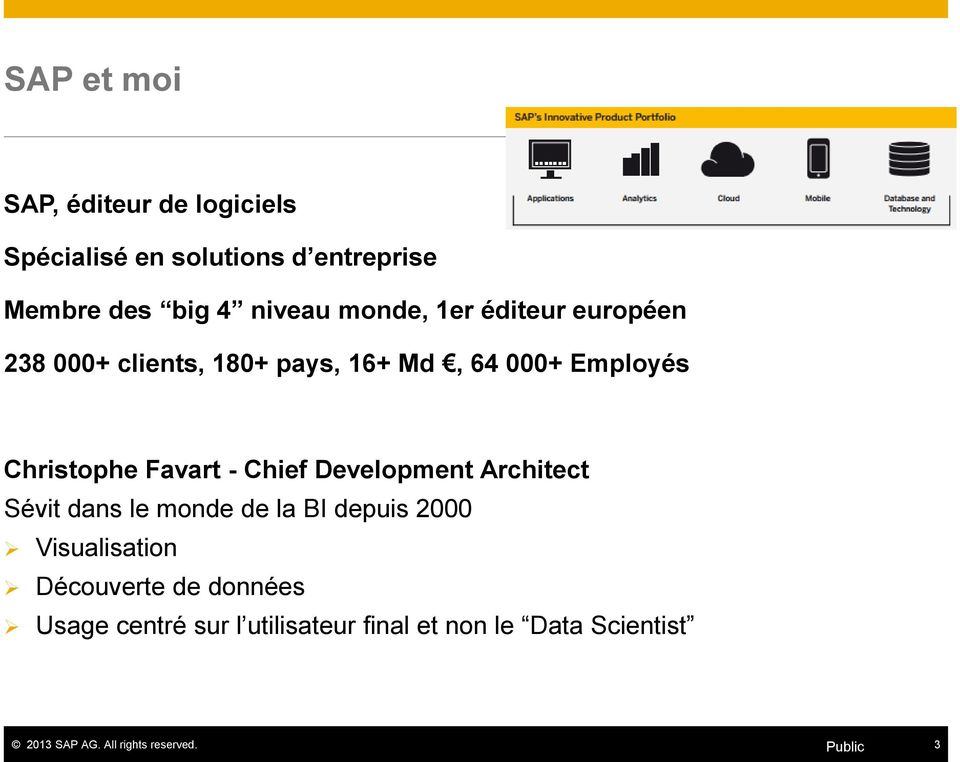 Christophe Favart - Chief Development Architect Sévit dans le monde de la BI depuis 2000