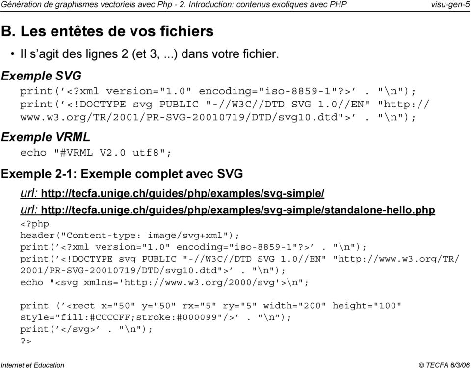 ""\n""); Exemple VRML echo ""#VRML V2.0 utf8""; Exemple 2-1: Exemple complet avec SVG url: http://tecfa.unige.ch/guides/php/examples/svg-simple/ url: http://tecfa.unige.ch/guides/php/examples/svg-simple/standalone-hello.960|750|?|778c6188761cbd332704d665dcb3c6a1|False|UNLIKELY|0.32140877842903137