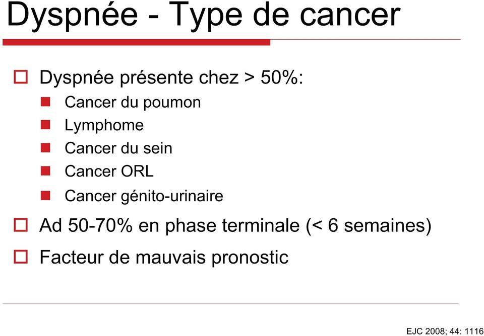 Cancer génito-urinaire Ad 50-70% en phase terminale (<