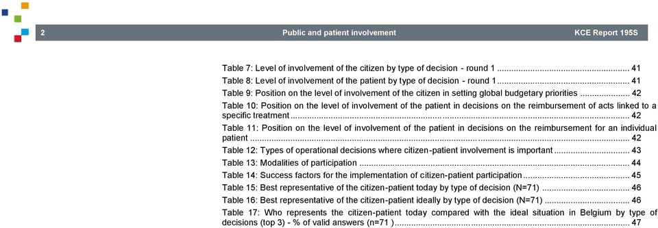 .. 42 Table 10: Position on the level of involvement of the patient in decisions on the reimbursement of acts linked to a specific treatment.
