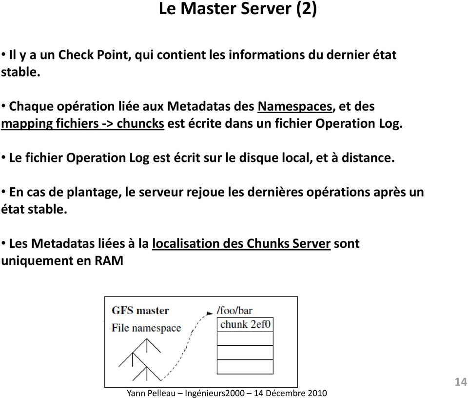 Operation Log. Le fichier Operation Log est écrit sur le disque local, et à distance.
