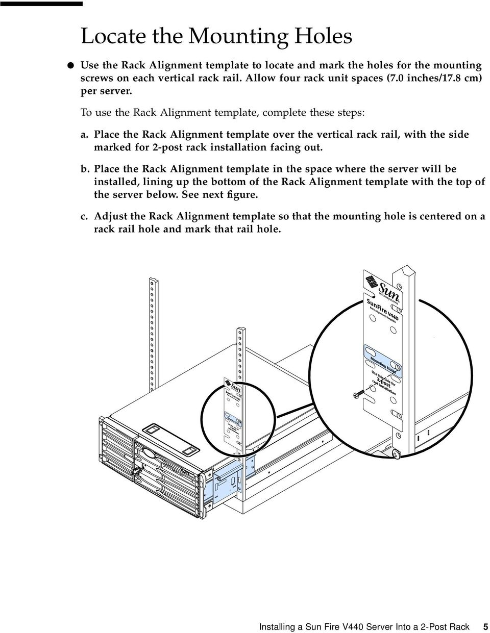 Place the Rack Alignment template over the vertical rack rail, with the side marked for 2-post rack installation facing out. b.