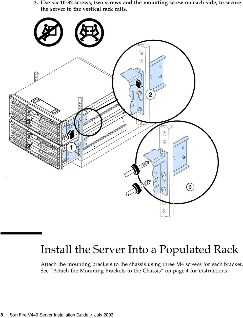 Install the Server Into a Populated Rack Attach the mounting brackets to the chassis using