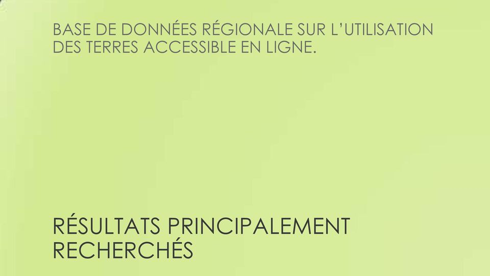 TERRES ACCESSIBLE EN LIGNE.