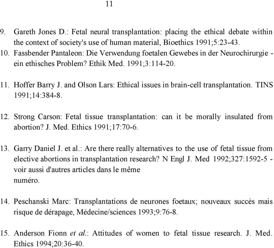 and Olson Lars: Ethical issues in brain-cell transplantation. TINS 1991;14:384-8. 12. Strong Carson: Fetal tissue transplantation: can it be morally insulated from abortion? J. Med.