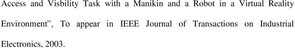 Environment, To appear in IEEE Journal