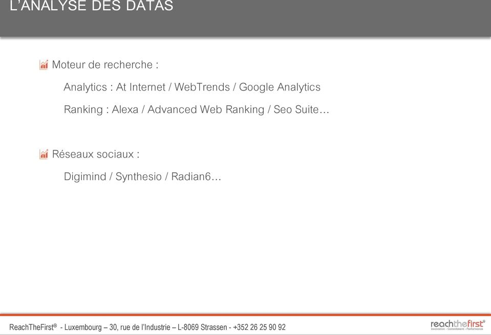 Analytics Ranking : Alexa / Advanced Web Ranking