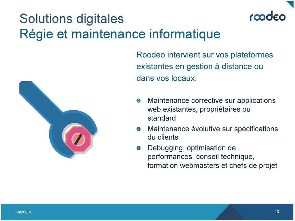 ! Maintenance corrective sur applications web existantes, propriétaires ou standard!