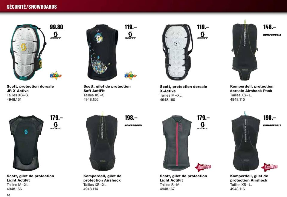 4948.115 179. 198. 179. 198. Scott, gilet de protection Light ActiFit Tailles M XL. 4948.