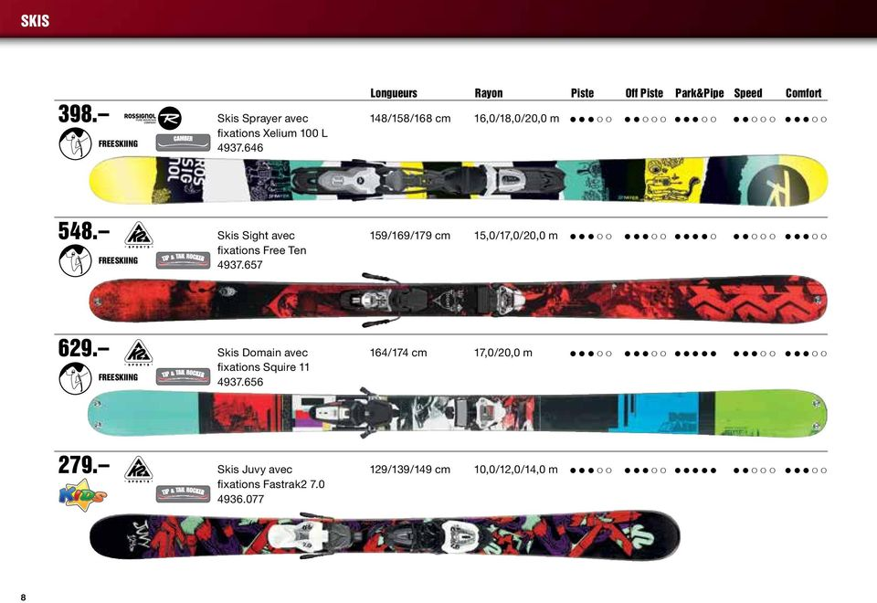 Skis Sight avec 159/169/179 cm 15,0/17,0/20,0 m Freeskiing fixations Free Ten 4937.657 629.