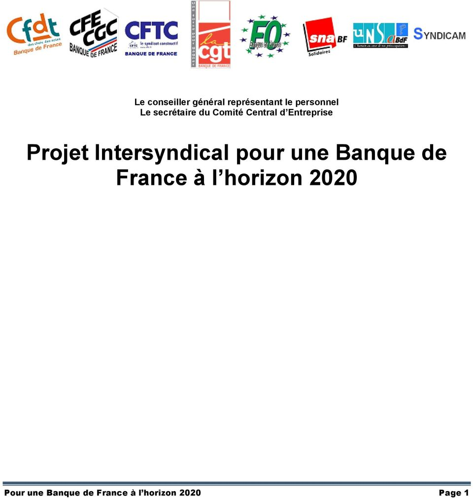 Intersyndical pour une Banque de France à l horizon