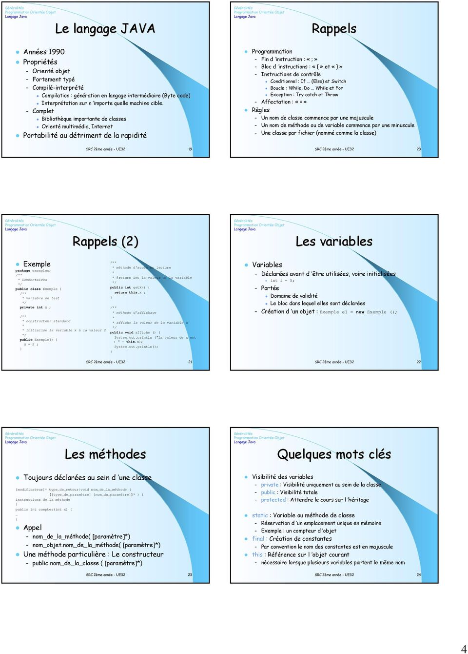 Complet Bibliothèque importante de classes Orienté multimédia, Internet Portabilité au détriment de la rapidité Programmation Fin d instruction : «;» Bloc d instructions : «{» et Instructions de
