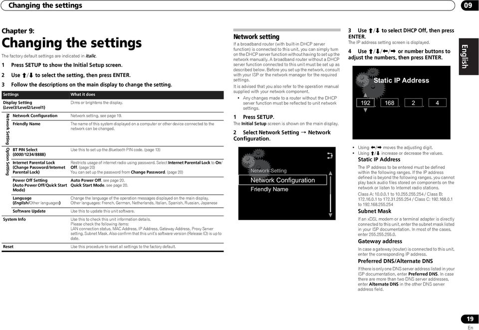 Settings Display Setting (Level3/Level2/Level1) Network Setting Option Setting What it does Dims or brightens the display. Network Configuration Network setting, see page 19.