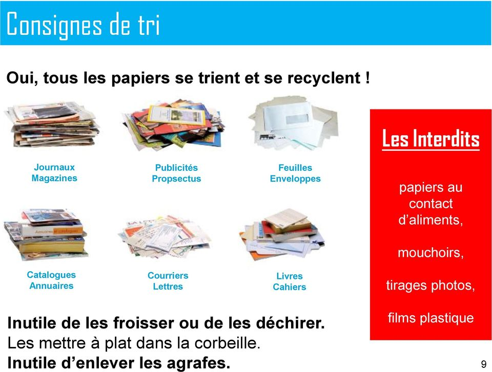 aliments, mouchoirs, Catalogues Annuaires Courriers Lettres Livres Cahiers tirages photos,