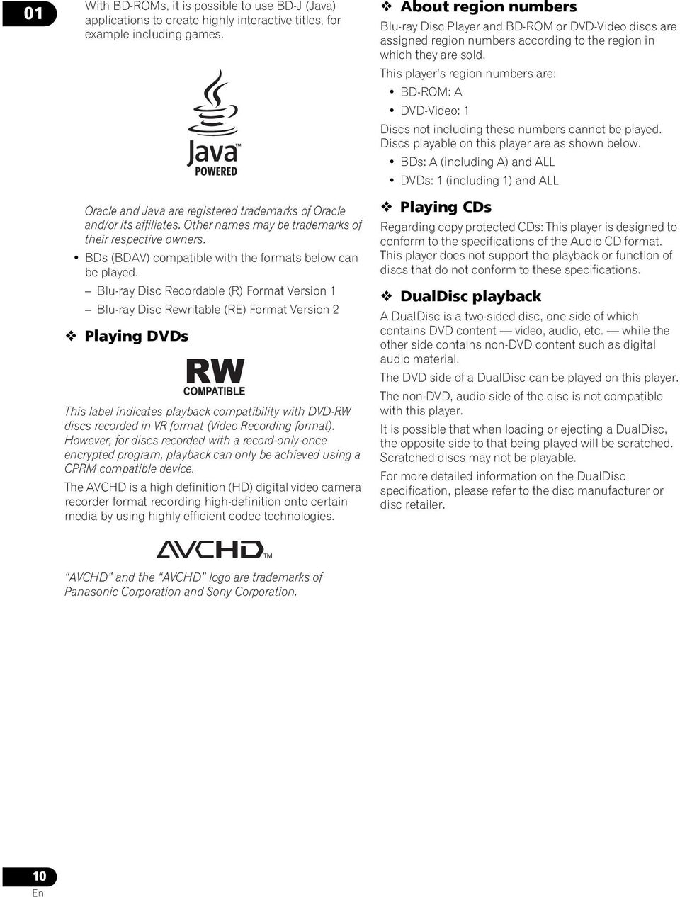 Blu-ray Disc Recordable (R) Format Version 1 Blu-ray Disc Rewritable (RE) Format Version 2 Playing DVDs This label indicates playback compatibility with DVD-RW discs recorded in VR format (Video
