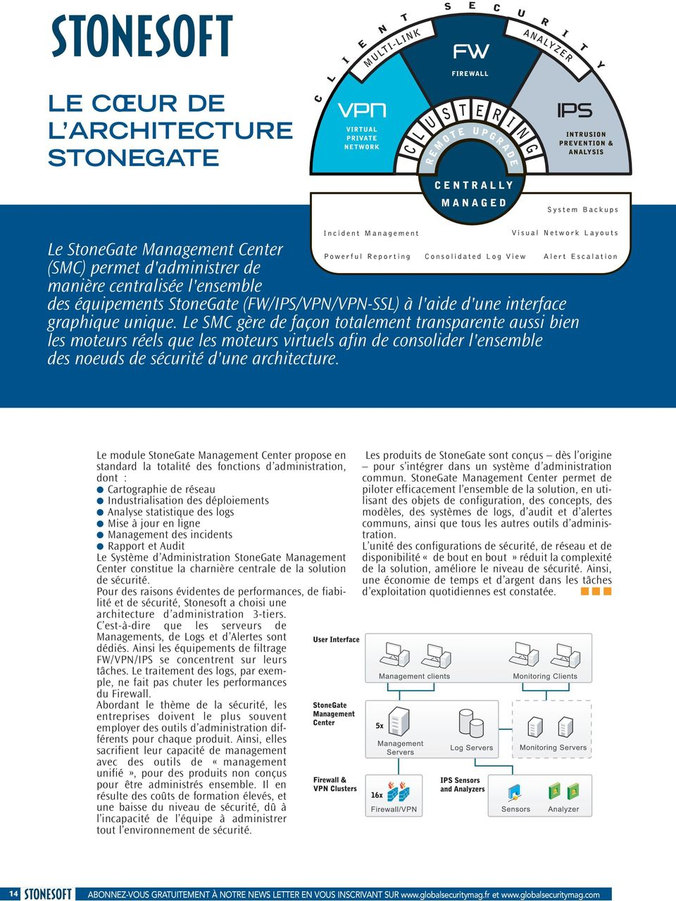 Le module StoneGate Management Center propose en standard la totalité des fonctions d administration, dont : Cartographie de réseau Industrialisation des déploiements Analyse statistique des logs