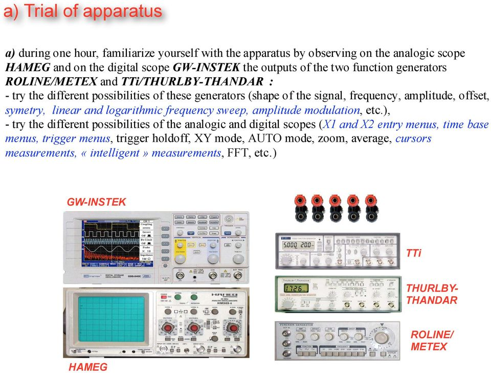 linear and logarithmic frequency sweep, amplitude modulation, etc.