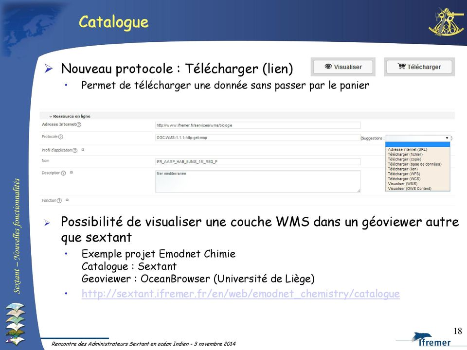 que sextant Exemple projet Emodnet Chimie Catalogue : Sextant Geoviewer : OceanBrowser