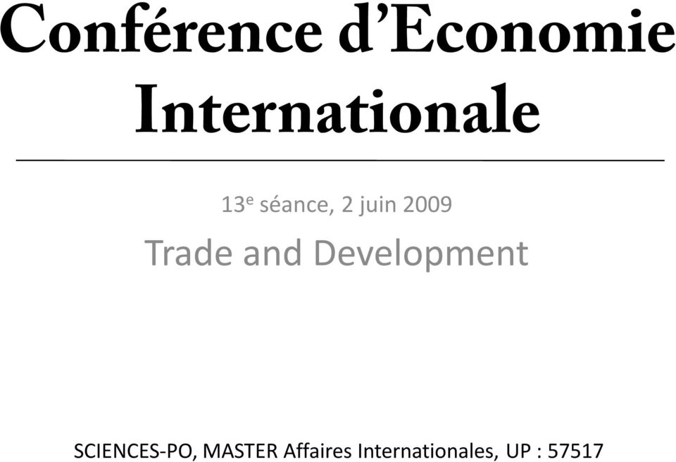 2009 Trade and Development