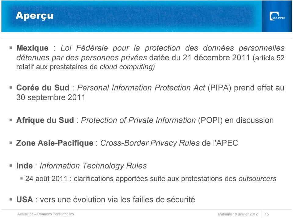 Private Information (POPI) en discussion Zone Asie-Pacifique : Cross-Border Privacy Rules de l'apec Inde : Information Technology Rules 24 août 2011 :