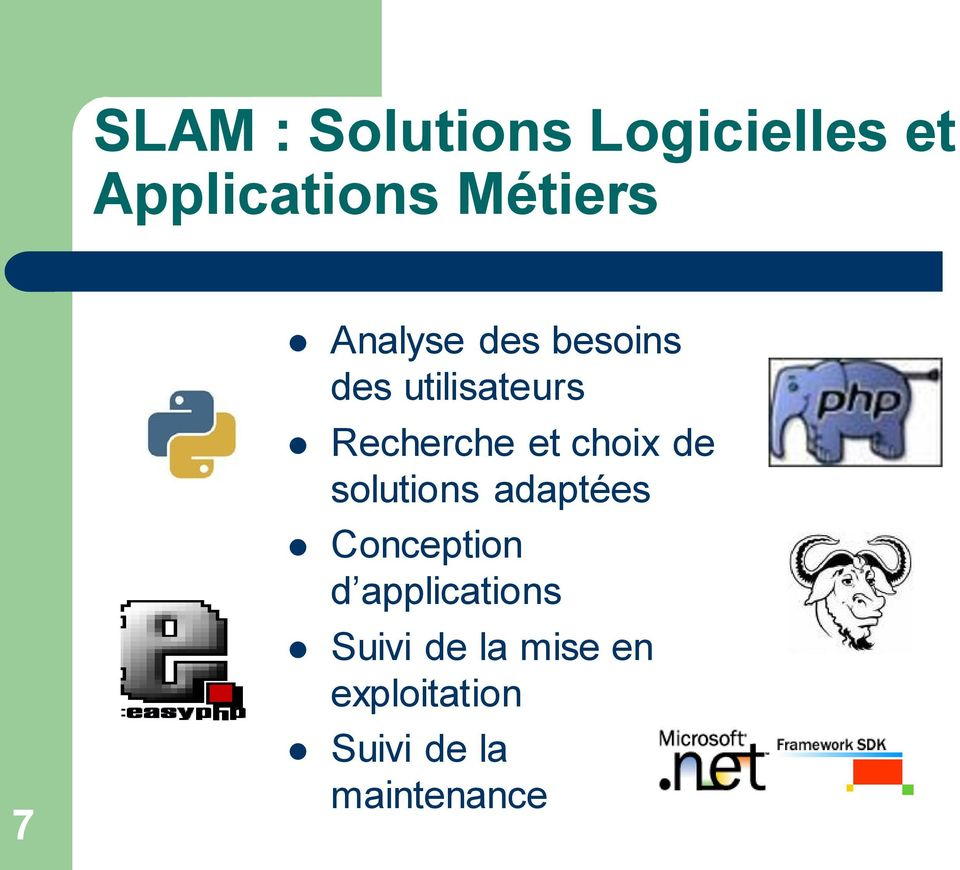 choix de solutions adaptées Conception d applications