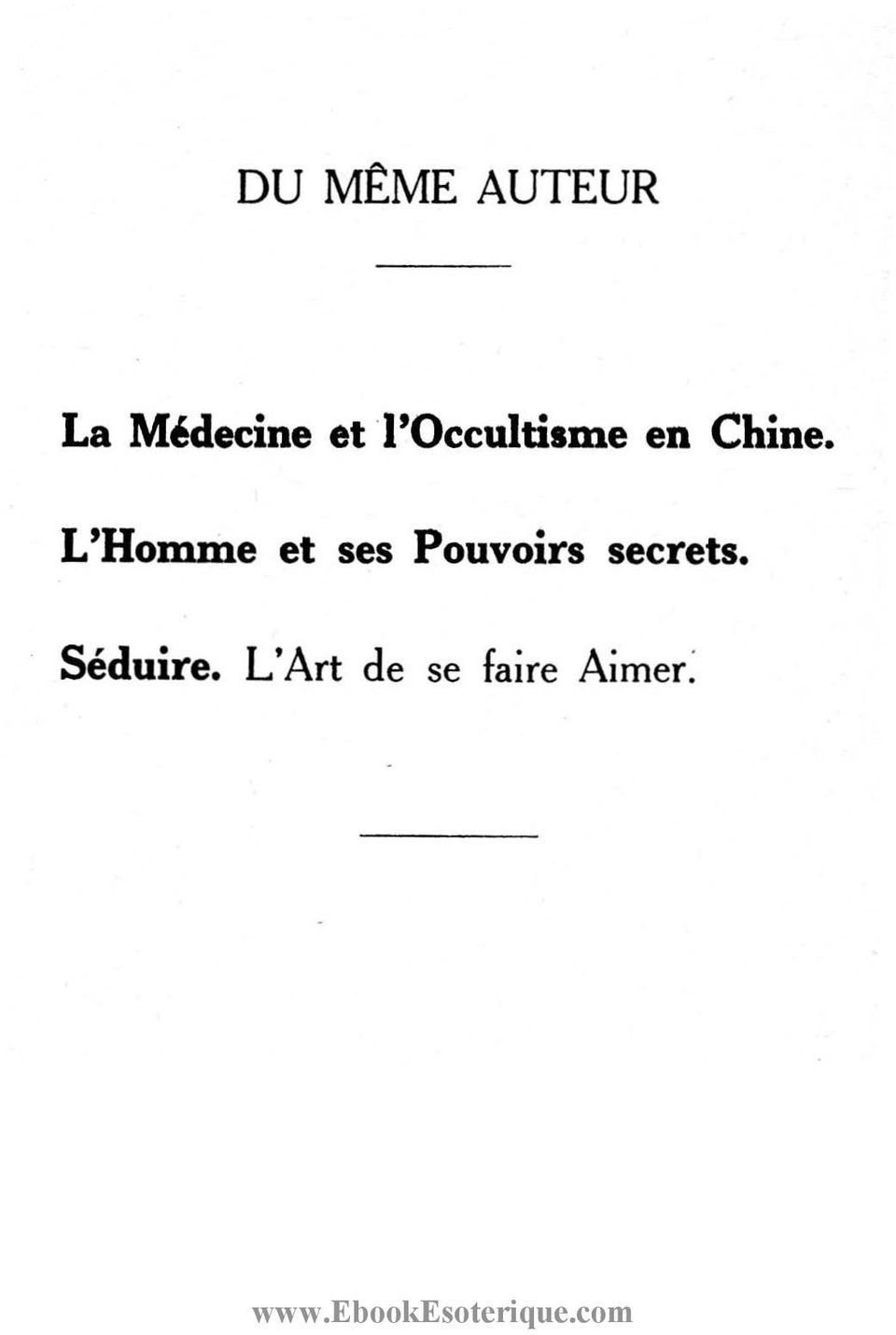 1'Occultisme en Chine.