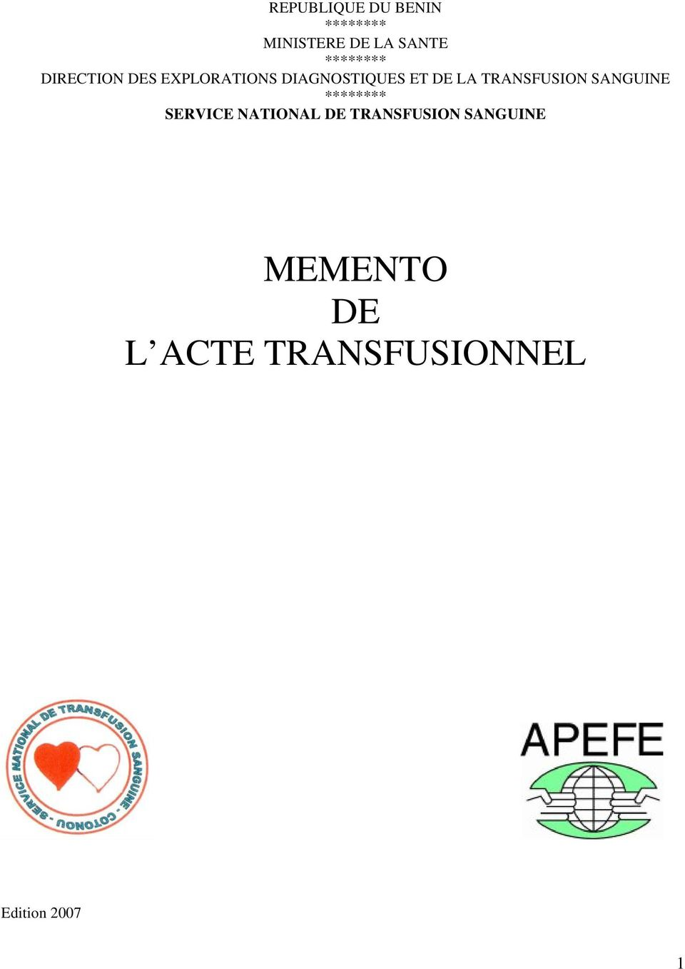 LA TRANSFUSION SANGUINE ******** SERVICE NATIONAL DE