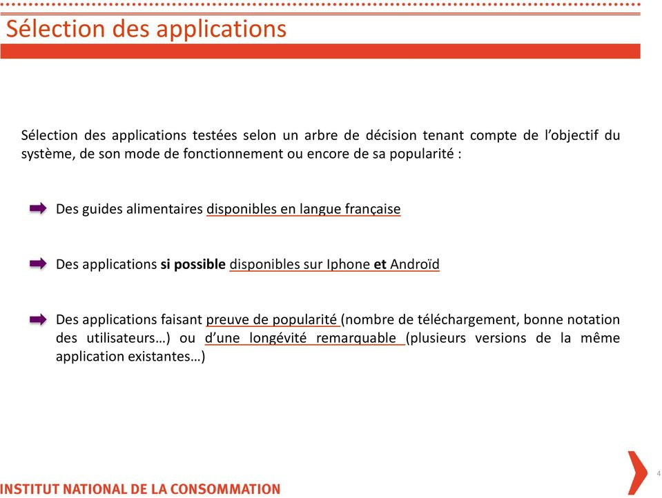 Des applications si possible disponibles sur Iphone et Androïd Des applications faisant preuve de popularité (nombre de