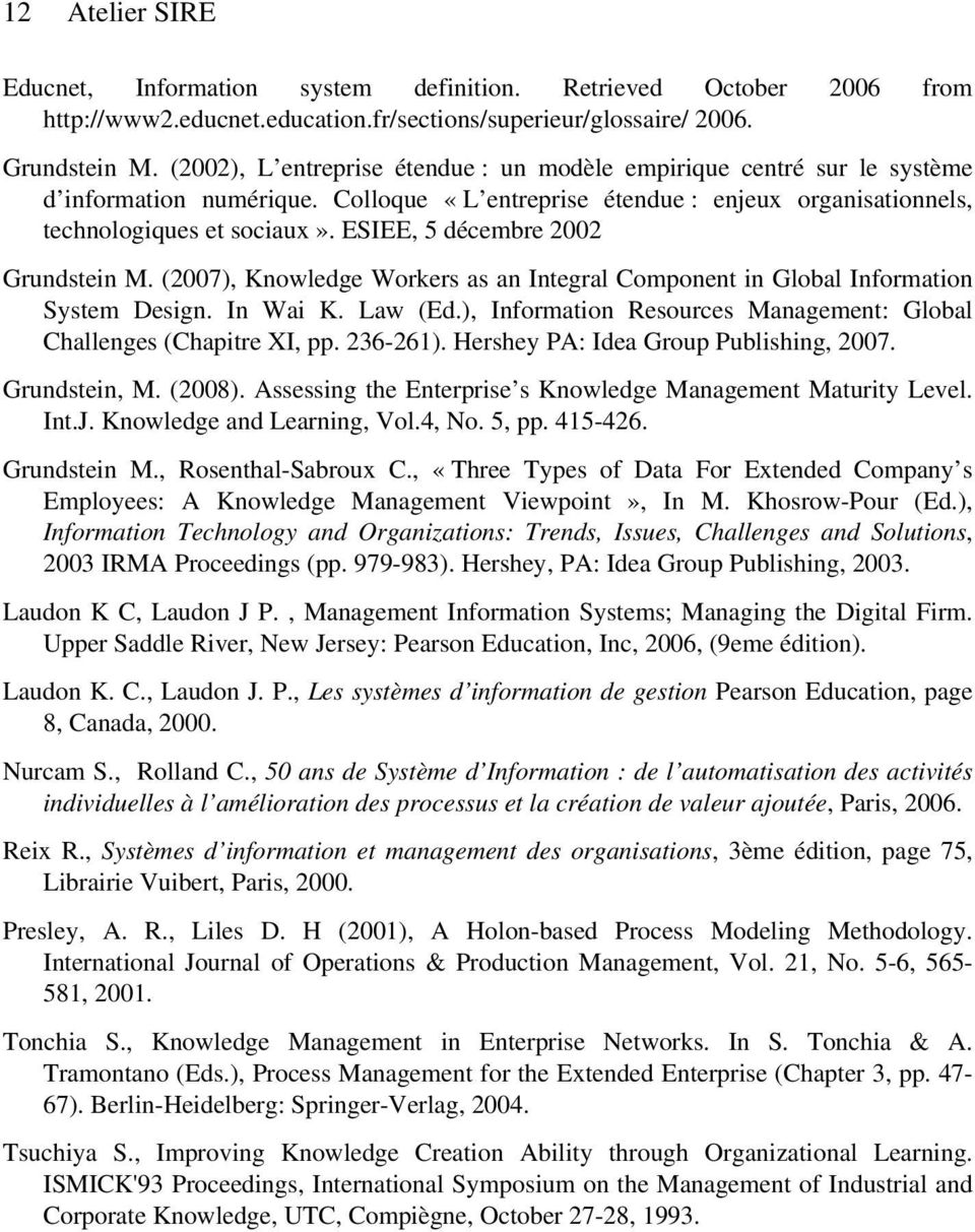 ESIEE, 5 décembre 2002 Grundstein M. (2007), Knowledge Workers as an Integral Component in Global Information System Design. In Wai K. Law (Ed.