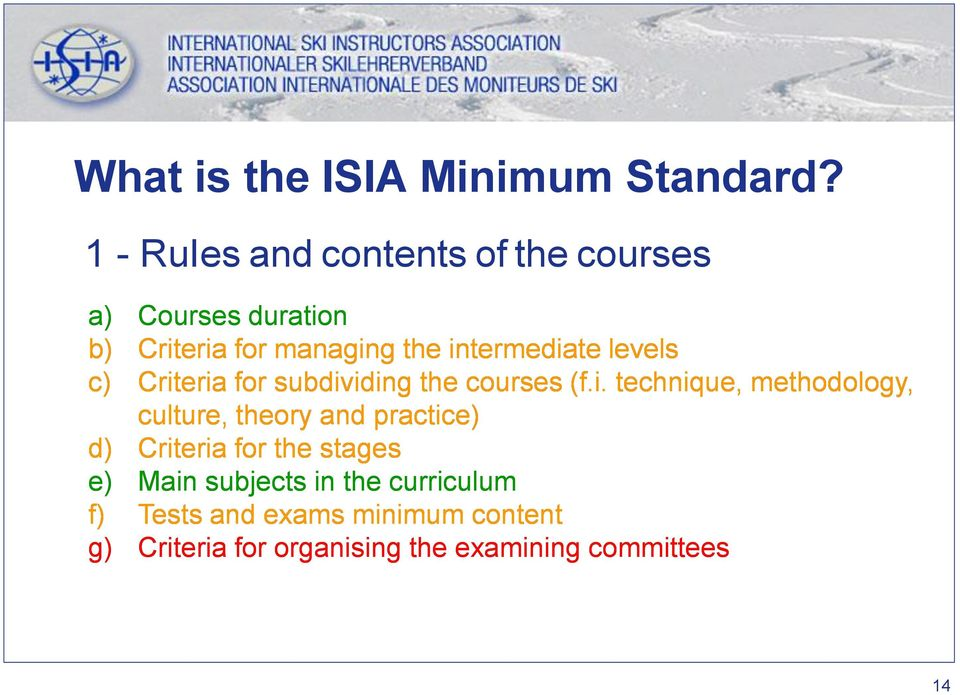 intermediate levels c) Criteria for subdividing the courses (f.i. technique, methodology, culture,