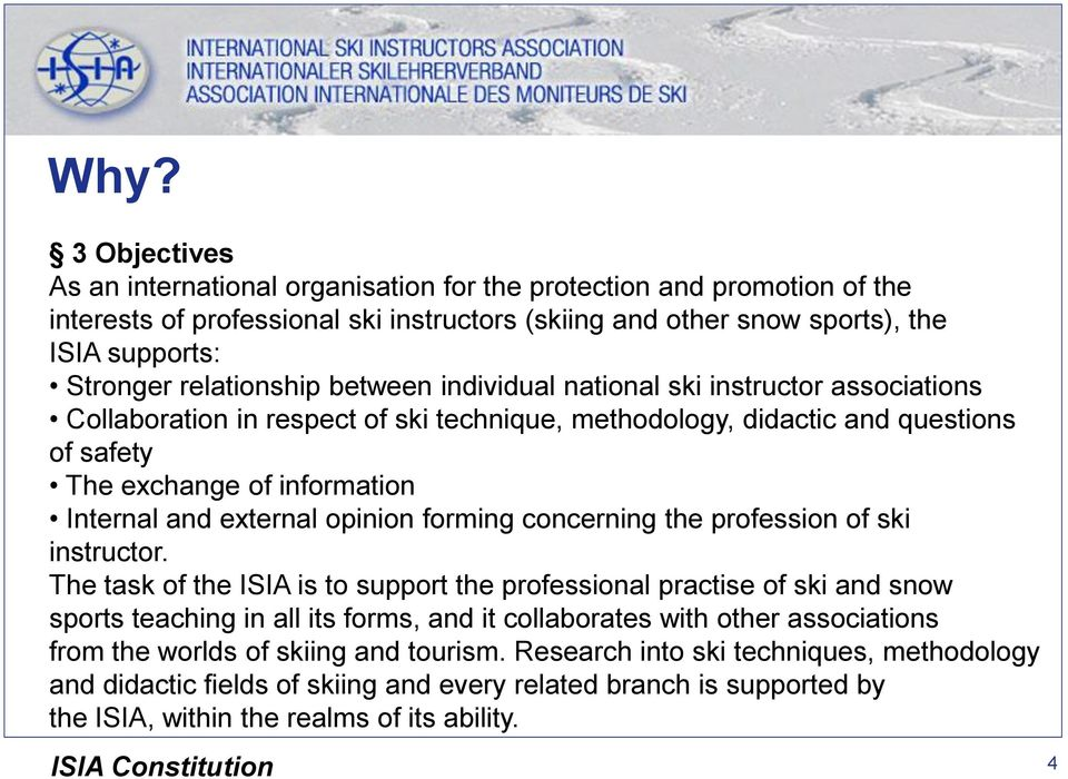 external opinion forming concerning the profession of ski instructor.