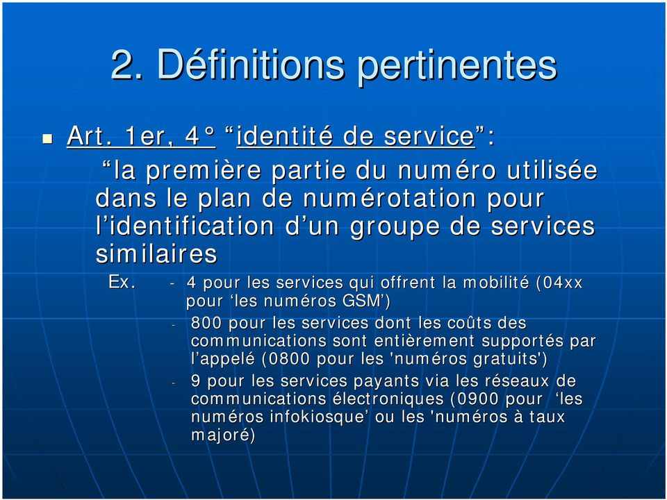 services similaires Ex.