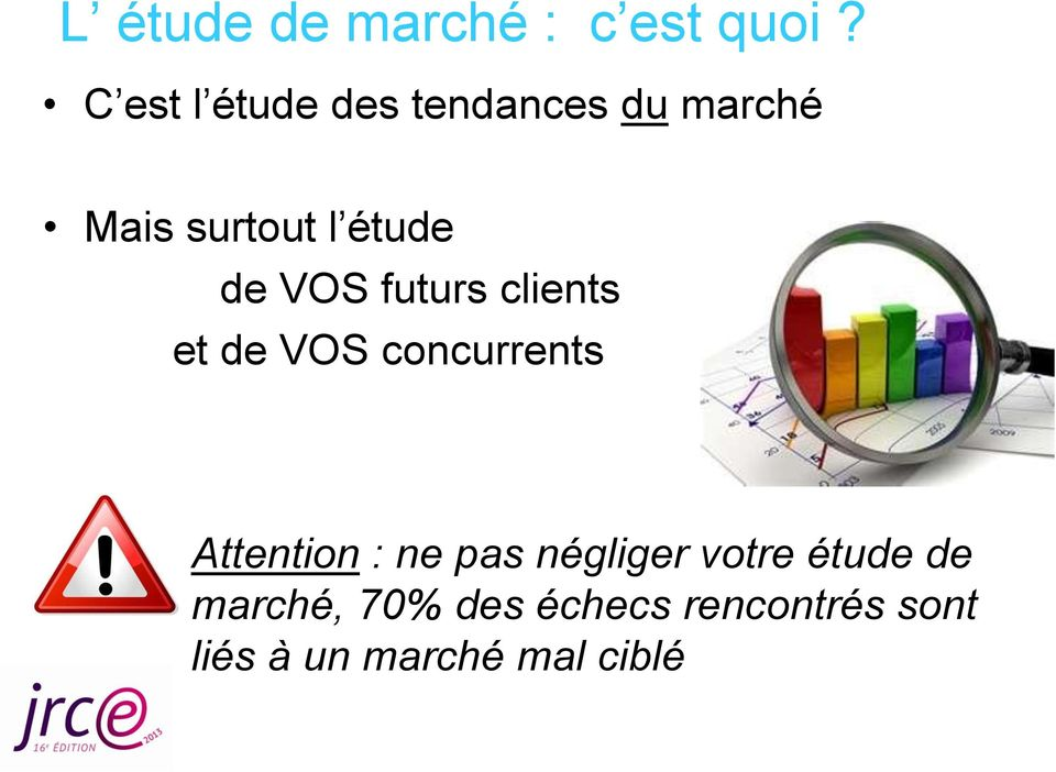 de VOS futurs clients et de VOS concurrents Attention : ne