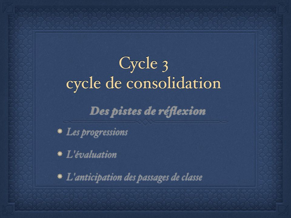 progressions L'évaluation
