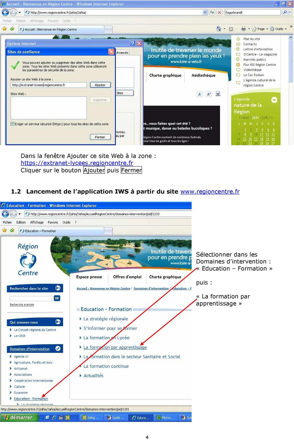 2 Lancement de l application IWS à partir du site www.regioncentre.