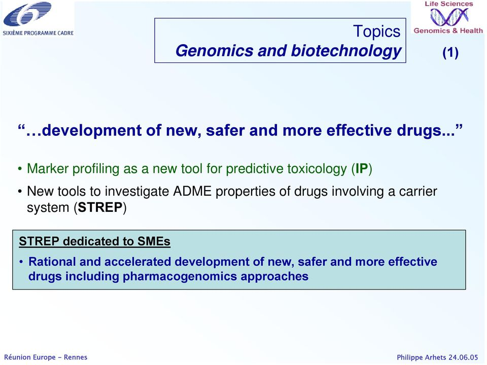 ADME properties of drugs involving a carrier system (STREP) STREP dedicated to SMEs Rational