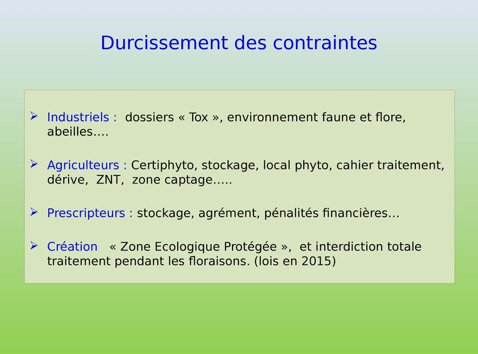 Agriculteurs : Certiphyto, stockage, local phyto, cahier traitement, dérive, ZNT, zone