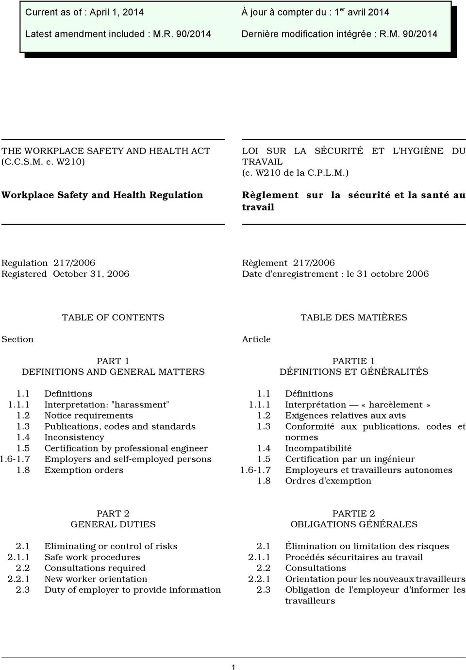 ) Règlement sur la sécurité et la santé au travail Regulation 217/2006 Registered October 31, 2006 Règlement 217/2006 Date d'enregistrement : le 31 octobre 2006 Section TABLE OF CONTENTS PART 1