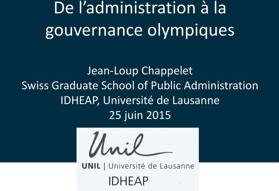 Lausanne > Understanding the forthcoming key challenges, the dynamics